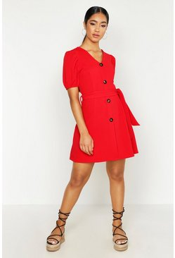 Womens Red Volume Sleeve Button Through Belted Dress