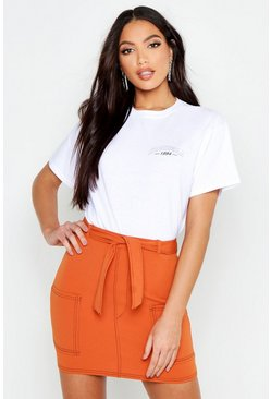 Womens Rust Contrast Stitch Pocket Detail Mini Skirt