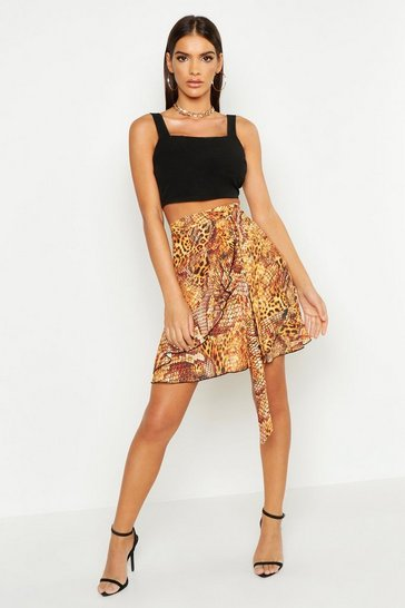 Womens Brown Mixed Animal Print Ruffle Wrap Skirt
