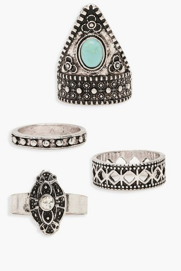Womens Silver Boho Turquoise Ring Pack
