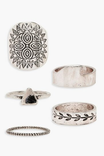 Womens Sun Silver Ring Pack