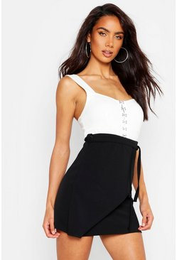 Womens Black Wrap Font Belted Mini Skirt