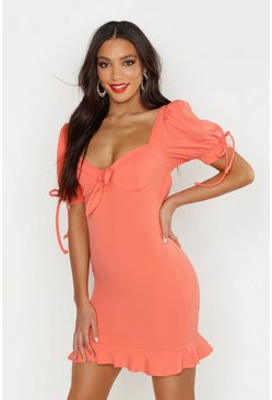 Womens Coral Peasant Sleeve Fitted Dress