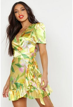 Womens Yellow Satin Fruit Print Wrap Dress