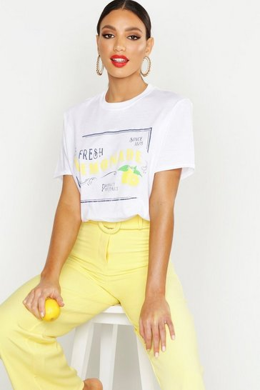 Womens White Lemonade Slogan T-Shirt