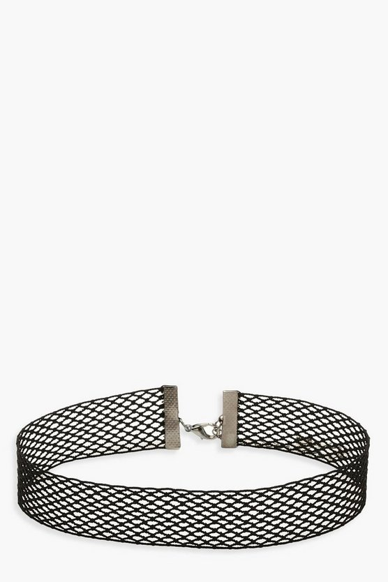 Womens Black Fishnet Choker