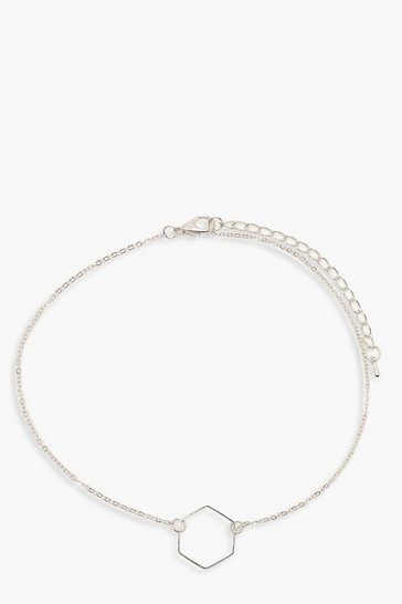 Womens Hexagon Chain Choker