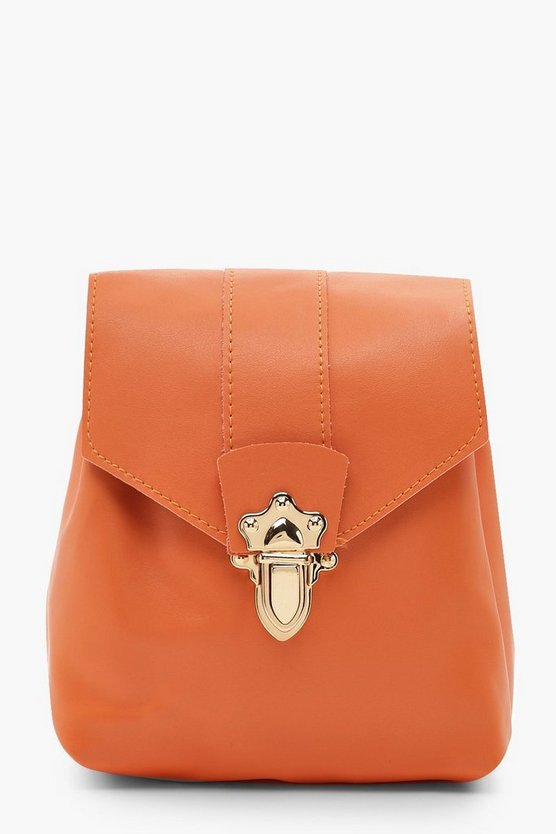 Womens Orange Mini Lock & Ring PU Rucksack