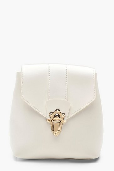 Womens White Mini Lock & Ring PU Rucksack