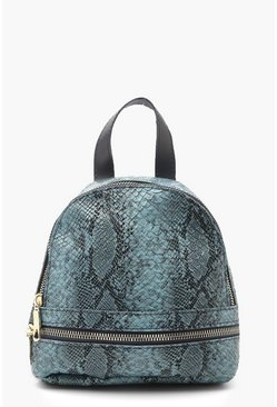 Womens Light blue Croc Mini Snake Print Rucksack
