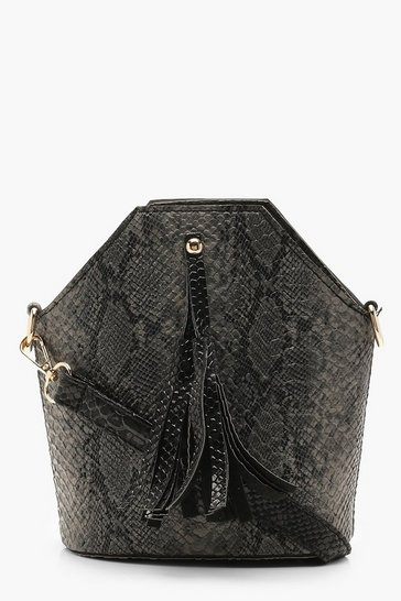 Womens Grey Snake Tassel Cross Body Bag