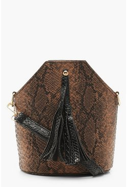 Womens Tan Snake Tassel Cross Body Bag