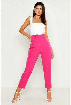 Womens Hot pink Wide Buckle Belt Straight Tapered Pants