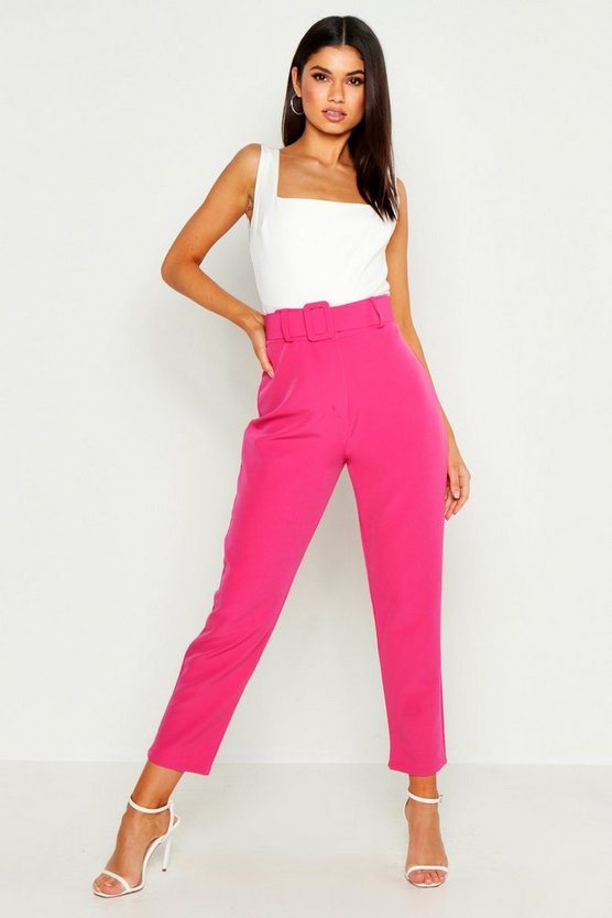 Womens Hot pink Wide Buckle Belt Straight Tapered Trouser