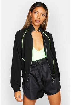 Womens Black Neon Piping Track Jacket