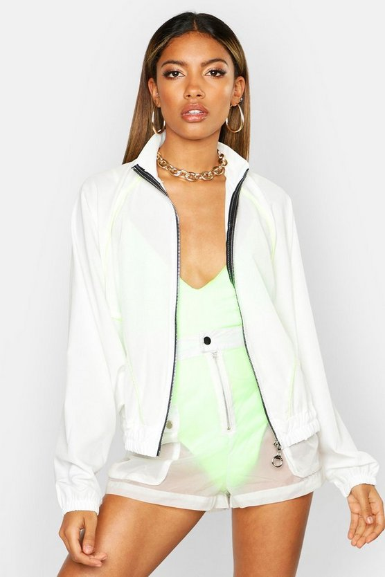 Womens White Neon Piping Track Jacket