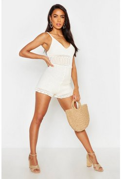 Womens Ivory Crochet Knit Playsuit