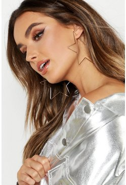 Womens Gold Star Oversized Hoops