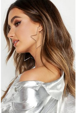 Womens Silver Star Oversized Hoops