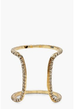 Womens Gold Diamante Arm Cuff