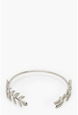 Womens Silver Diamante Leaf Bangle