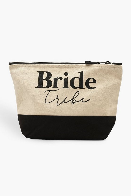 Womens Black Bride Tribe Make Up Bag