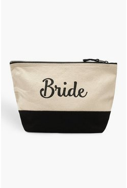 Womens Black Bride Canvas Make Up Bag