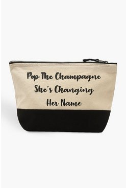 Womens Black Slogan Bridal Make Up Bag