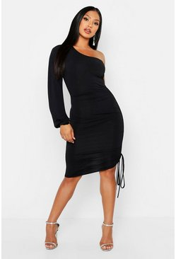 Black Double Slinky One Shoulder Rouched Midi Dress