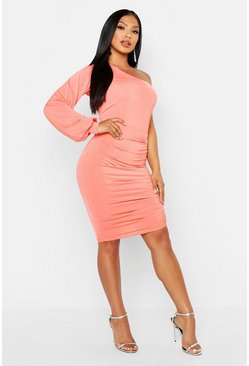 Womens Coral Double Slinky One Shoulder Rouched Midi Dress