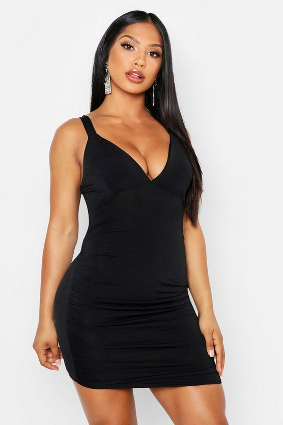 Womens Black Double Slinky Gathered Detail Bodycon Dress