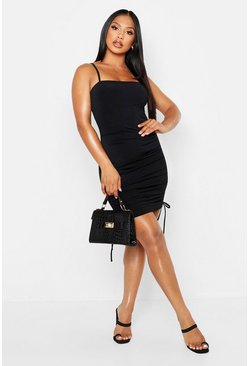 Black Double Slinky Rouched Detail Bodycon Dress