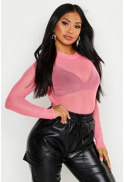 Womens Coral Mesh High Neck Top