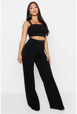 Black Scuba Crepe Crop + Trouser Co-Ord