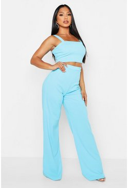 Womens Blue Scuba Crepe Crop + Trouser Co-Ord