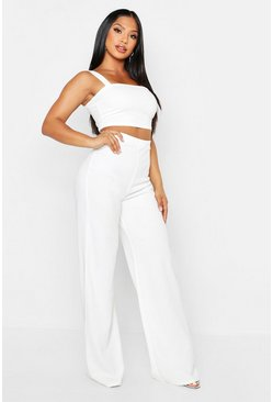 Womens Ivory Scuba Crepe Crop + Trouser Co-Ord