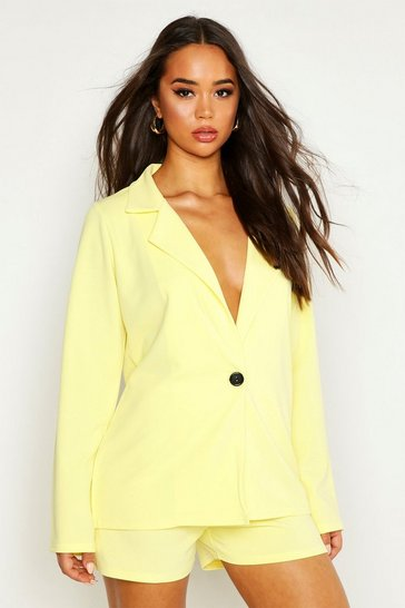 Womens Yellow Tailored Blazer & Short Co-Ord