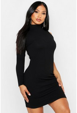Womens Black One Shoulder Bodycon Dress