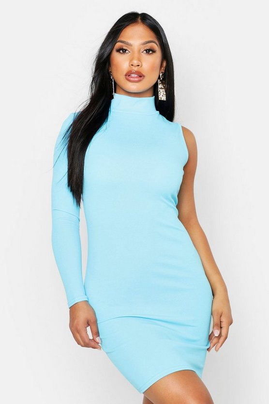 Womens Blue One Shoulder Bodycon Dress