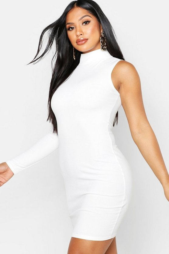 Womens Ivory One Shoulder Bodycon Dress