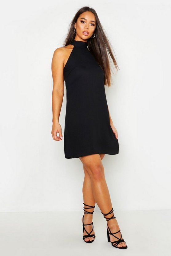 Womens Black Woven Plunge Pussy Bow Shift Dress