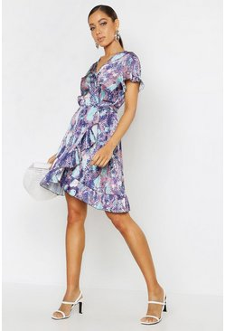 Womens Purple Woven Snake Wrap Ruffle Tea Dress