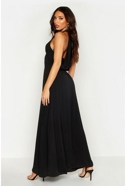 Black Woven V Neck Cowl Back Maxi Dress