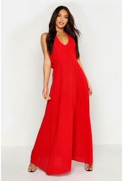Womens Red Woven V Neck Cowl Back Maxi Dress