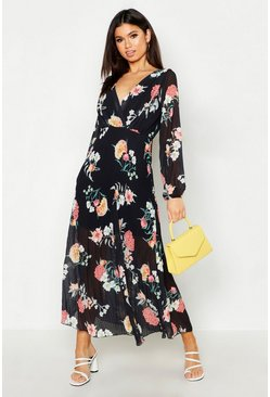 Womens Black Woven Floral Pleated Maxi Dress