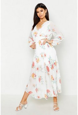 Womens White Woven Floral Pleated Maxi Dress