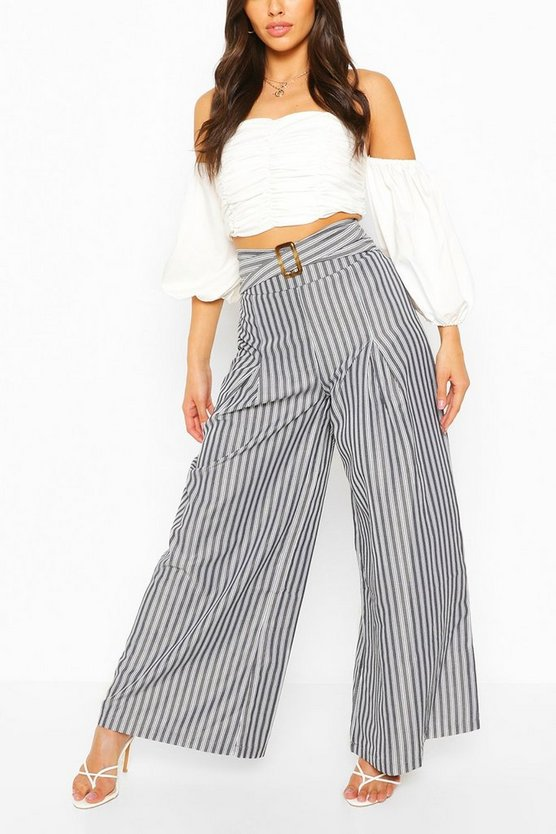 Womens Black Belted Woven Stripe High Waist Trouser