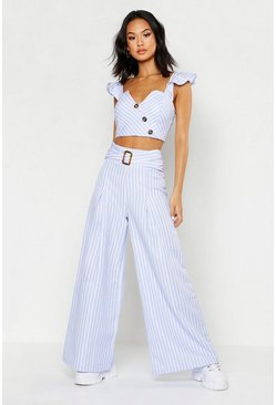 Blue Belted Woven Stripe High Waist Trouser
