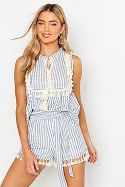 Linen Stripe Belted Tassel Trim Shorts