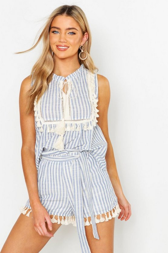 Womens Blue Linen Stripe Belted Tassel Trim Shorts